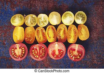 litet, Mång-, tomaten, färgad