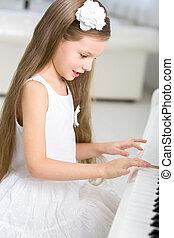 litet, musiker, leka, stående, piano, klänning, vit
