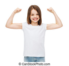 litet, musker, visande, t-shirt, tom, flicka, vit