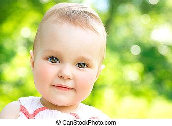 litet, natur, utomhus, bakgrund, barn,  baby, Stående, flicka,  över