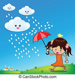 litet, paraply, flicka, regna