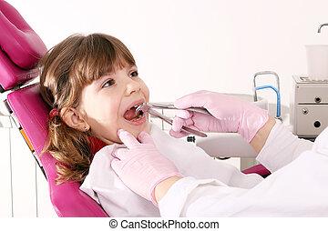 litet, plattång, flicka, tand, extracted, tandläkare