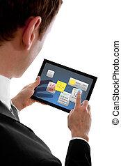 litet, programms, widget, touchpad, pc, holdingen, affärsman, användande