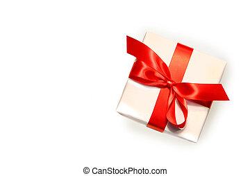 litet, röd, gåva, isolerat, vita
