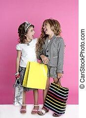 litet, shopper, humor, shopaholic, flickor