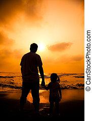 litet, silhuett, fader, flicka,  hand, holdingen, strand