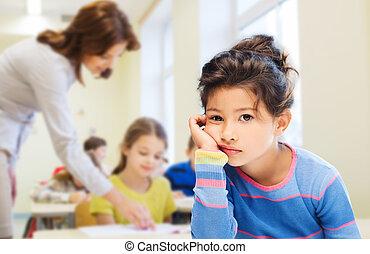 litet, skola, trist, flicka, uttråkad, eller