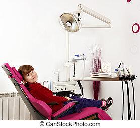 litet, stol, tandläkare, flicka, sittande
