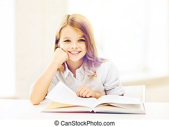 litet, student, flicka, studera, hos, skola