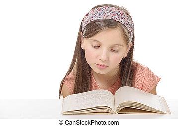 litet, student, flicka, studera, och, läsning beställ, hos, skola
