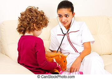 litet, tålmodig, henne, prata, läkare