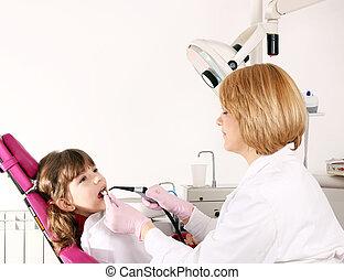 litet, tålmodig, kontor, dental, tandläkare, kvinnlig, flicka
