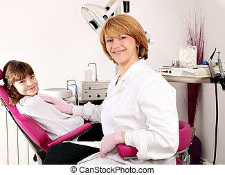 litet, tålmodig, tandläkare, kvinnlig, flicka, lycklig