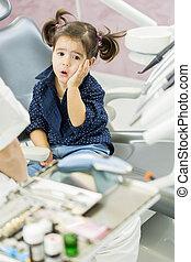 litet, tandläkare, flicka