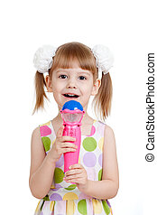 litet, toy., isolerat, bakgrund, flicka, vit, mikrofon