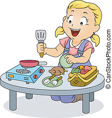 litet, unge, flicka, leka, med, matlagning, toys