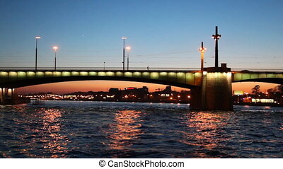 Liteyniy Bridge in night illuminated with lights St. Petersburg