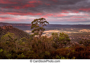 lithgow, clifftop, 日没, 谷, 光景