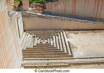 lithica, 石, quarries., ブロック, ごく小さい, 作られた, 迷路