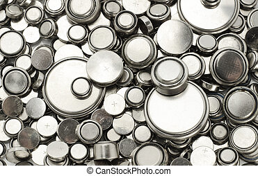 Lithium batteries of various sizes - Background image of...