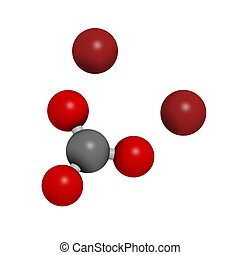 Lithium carbonate (Li2CO3) bipolar disorder drug, chemical structure. Atoms are represented as spheres with conventional color coding: carbon (grey), oxygen (red), lithium (brown)