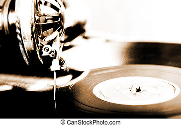 Lithprint of vintage phonograph with shallow depth of field