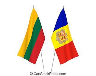 Lithuania and Andorra flags - National fabric flags of ...