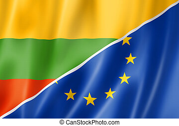 Lithuania and Europe flag - Mixed Lithuanian and european ...