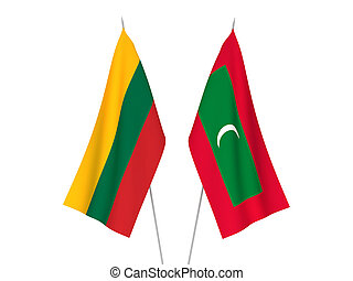 Lithuania and Maldives flags - National fabric flags of ...