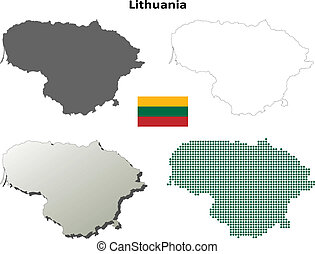Outline lithuania map administrative division of the republic of lithuania blank outline map set publicscrutiny Gallery