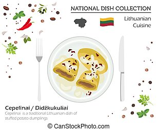 Lithuania Cuisine. European national dish collection. Lithuanian cepelinai, stuffed potato dumpling isolated on white, infographic