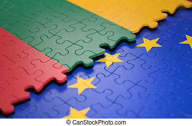 Lithuania European Union Puzzle Flag