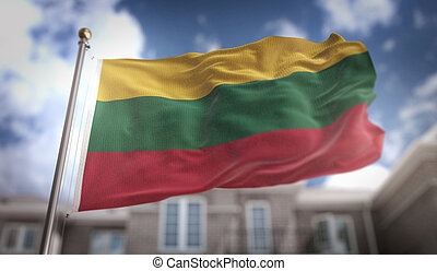 Lithuania Flag 3D Rendering on Blue Sky Building Background