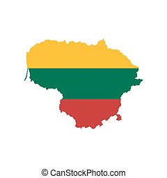 Lithuania Map With Flag In Contour On White Polygonal World Eps - Lithuania map vector