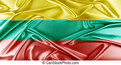 Lithuania Flag. Flag with a beautiful glossy silk texture.