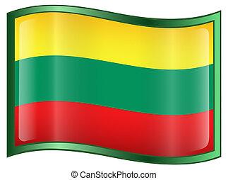 Lithuania Flag Icon, isolated on white background.