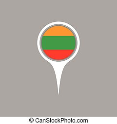 Lithuania flag location map icon ,  Vector illustration.