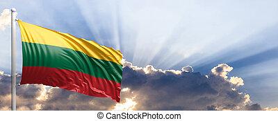 Lithuania flag on blue sky. 3d illustration