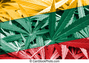 Lithuania Flag on cannabis background. Drug policy. ...