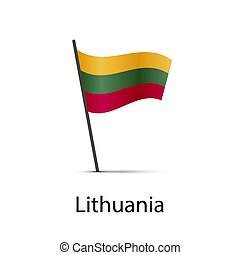 Lithuania flag on pole, infographic element on white