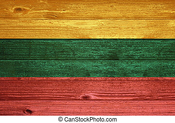 Lithuania Flag painted on old wood plank background.