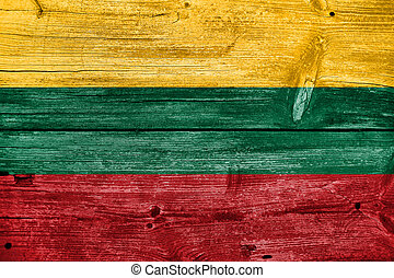 Lithuania Flag painted on old wood plank background