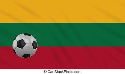 Lithuania flag waving and football rotates, loop