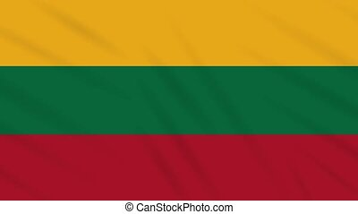 Lithuania flag waving cloth background, loop