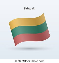 Lithuania flag waving form. Vector illustration.