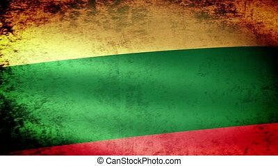 Lithuania Flag Waving, grunge look