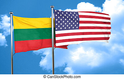Lithuania flag with American flag, 3D rendering