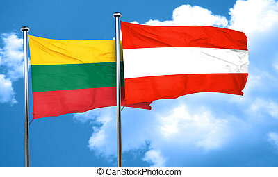 Lithuania flag with Austria flag, 3D rendering