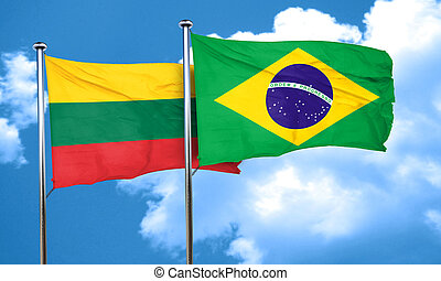 Lithuania flag with Brazil flag, 3D rendering
