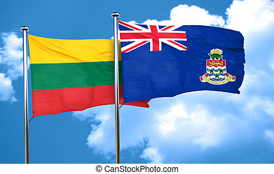 Lithuania flag with Cayman islands flag, 3D rendering
